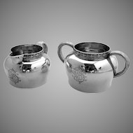 Tiffany Sterling Silver Creamer and Sugar Bowl 1890