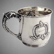 Sterling Silver Dolphin Handle Cup Gorham 1895 Christmas