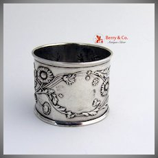 French 800 Silver Napkin Ring 1900 Floral