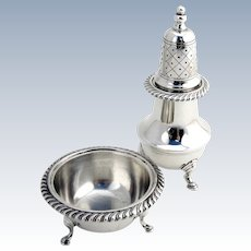 Sterling Silver Open Salt Pepper Shaker Redlich 1910
