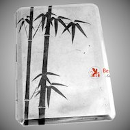 Japanese Sterling Silver Cigarette Case Niello Bamboo 1940