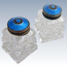Sterling Silver Salt and Pepper Shakers Norway Enamel