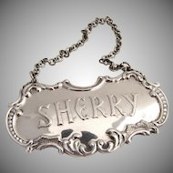 Sherry Bottle Tag Gorham Sterling Silver 1960