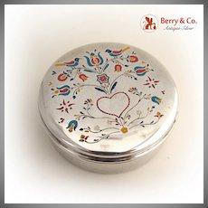 Jewelry Box Enamel 1940 Sterling Silver