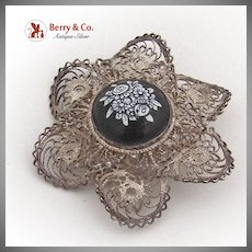 Floral Porcelain Center Brooch Filigree Sterling Silver