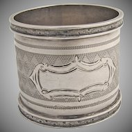 Engine Turned Napkin Ring 1870 Coin Silver