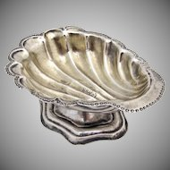 Russian 84 Standard Silver Shell Open Salt Dish 1860 Moscow
