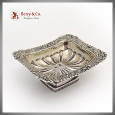 Ornate Rectangular Open Salt Dish 1833 Moscow 84 Standard Silver