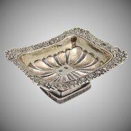 Ornate Rectangular Open Salt Dish 1833 Moscow 84 Standard Silver