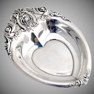 Rose Point Heart Bowl or Dish Wallace Sterling Silver 1935