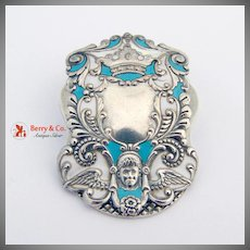 Ornate Cherub Paper Clip Enamel R.Blackinton Sterling Silver