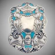Ornate Cherub Paper Clip Enamel R.Blackinton Sterling Silver