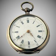 Antique Pocket Watch 800 Silver Engine Turned