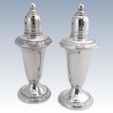 Empire Salt Pepper Shakers Weighted Sterling Silver