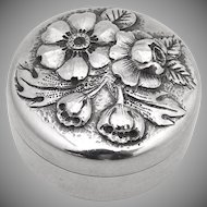 Art Nouveau Pill Box Gorham 1890 Sterling Silver