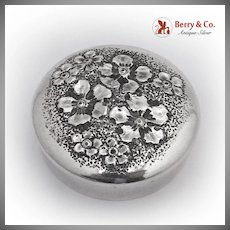 Floral Embossed Pill Box Gorham 1890 Sterling Silver