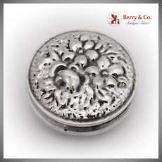 Round Floral Pill Box 900 Silver