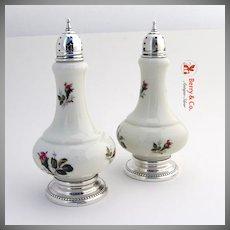 Porcelain Salt And Pepper Shakers Sterling Silver