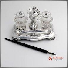 Dutch Inkstand 1851 Crystal Glass  833 Silver