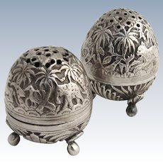 Egg Shape Salt Pepper Shakers 1890 Coin Silver