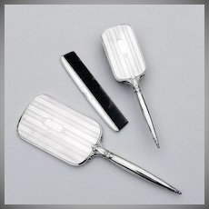 Edwardian Three Piece Dresser Set Hand Mirror Brush And Comb Sterling Silver Webster 1920