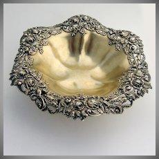 Ornate Rose Serving Bowl Redlich Gold Wash Sterling Silver