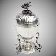 Bird Finial Victorian Egg Holder 1890 Silverplate