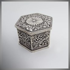 Ornate Hexagonal Hand Chased Scroll Dresser Box Sterling Silver 1880