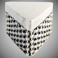 Basket Weave Triangular Pill Box Sterling Silver 1950