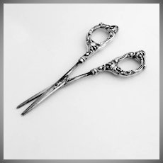 Floral Scroll Grape Shears Sterling Silver Stainless Steel 1940