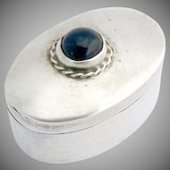 Cabochon Oval Pillbox Sterling Silver Lapis Mexico 1985