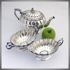 3 Piece Fluted Body Tea Service Scroll Shell Sterling Silver Mauser MFG 1890