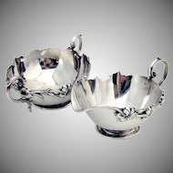 Art Nouveau Sugar Bowl And Creamer Sterling Silver Knowles 1900