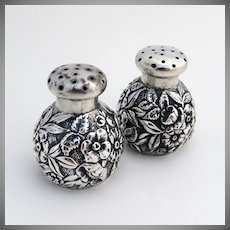 Floral Repousse Salt And Pepper Shaker Sterling Silver 1890