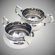 Strasbourg Creamer And Sugar Bowl Sterling Silver Gorham 1897