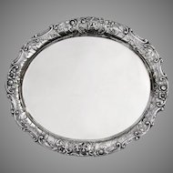 Magnificent Ornate Floral Scroll Cupid Serving Tray 800 Silver Germany 1900