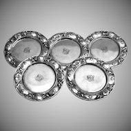 Floral Butter Pats Set of 5 Gorham 1900 Sterling Silver