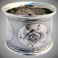 Floral Embossed Napkin Ring 1880 Coin Silver