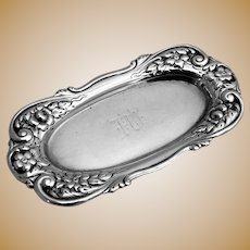 Floral Scroll Pin Tray Sterling Silver 1890