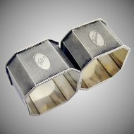 Pair Of Art Deco Engine Turned Napkin Rings 835 Standard Silver 1900