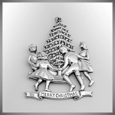 Children Round The Tree Christmas Ornament Sterling Silver Gorham 1977