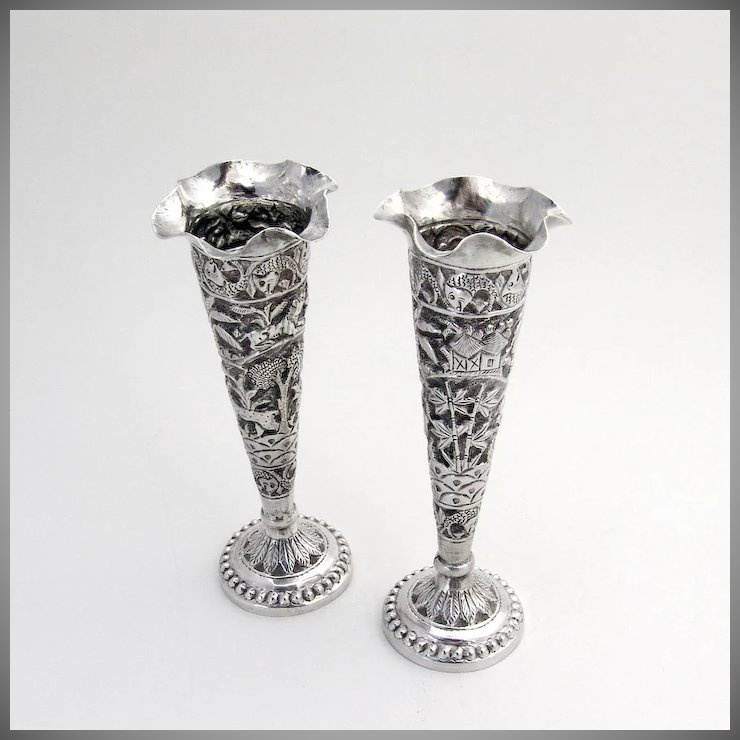 Pair Of Ornate Indian Colonial Bud Vases Sterling Silver 1900
