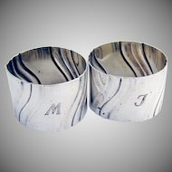 Pair Of Fluted Napkin Rings German 835 Standard Silver 1900