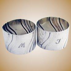 Pair Of Fluted Napkin Rings German 835 Standard Silver 1900