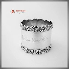 Floral Scroll Napkin Ring Sterling Silver Wilcox Silver Plate 1920