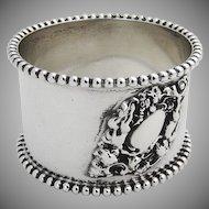 Cherub Scroll Beaded Rim Napkin Ring Sterling Silver Watrous 1900