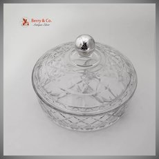 Sectional Serving Bowl With Lid Cut Glass Sterling Silver 1940