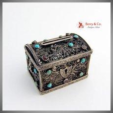Antique Miniature Filigree Treasure Chest Coin Silver Gemstones1890