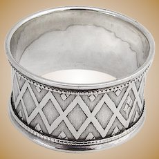 Engine Turned Napkin Ring Coin Silver 1870