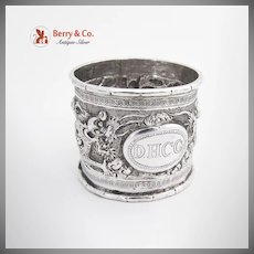 Vintage Chinese Export Silver Repousse Napkin Ring 1900